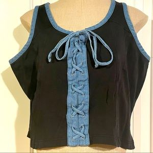 Vintage Lace-Up Crop Top